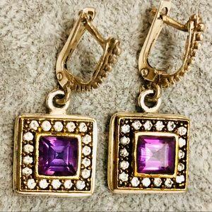 Jewelry - 💎 Vintage 925 Amethyst Earrings Diamond Accents